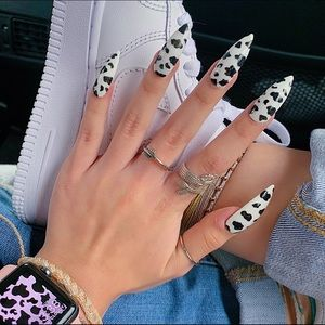 Handmade Gel Cow Print Vsco Press On Nail Mani